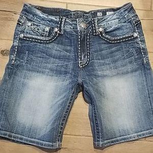 Miss Me Distressed Denim Boyfriend Shorts 28
